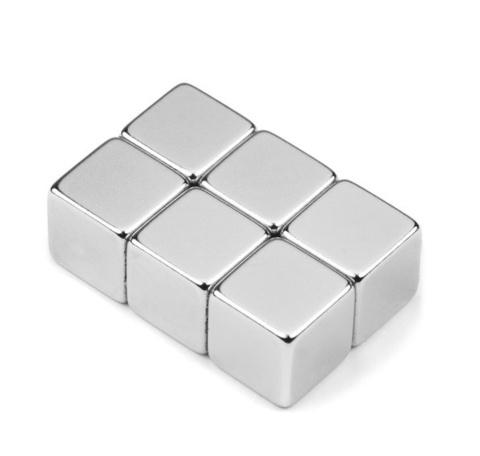 Магнит 10х10х10 мм, N38, никель, неодимовый блок