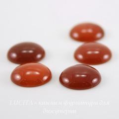 Кабошон круглый Агат красный, 12 мм
