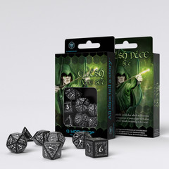 Elvish Black & white Dice Set (7)