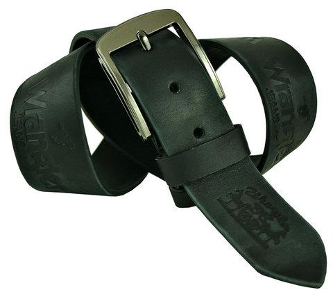 Мужской кожаный чёрный с серым ремень 45Millen-055
