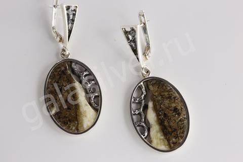 Серьги с янтарем из серебра 925