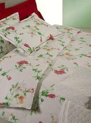Постельное белье семейное Mirabello Hibiscus белое с красными цветами