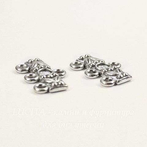 """Коннектор """"Узоры"""" (1-3) 17х11 мм (цвет - античное серебро), ПАРА"""