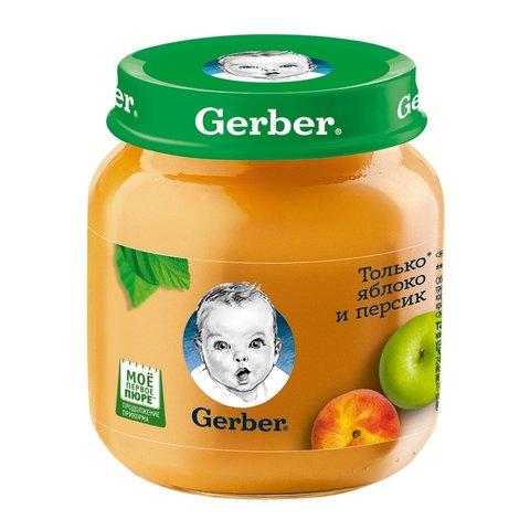"""Пюре """"Gerber"""" яблоко, персик (с 5 месяцев) 130 г"""