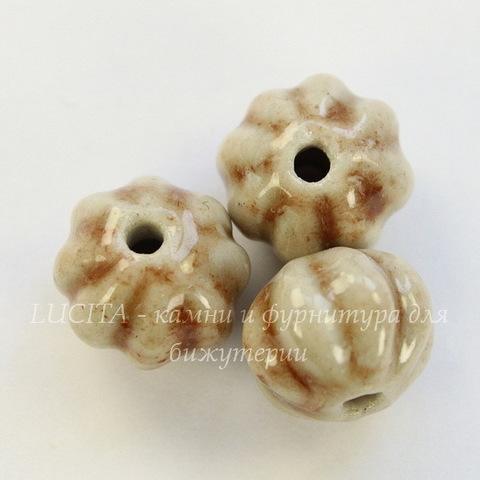 Бусина фарфоровая резная рондель ручной работы цвет - белый с коричневым, 12х10 мм
