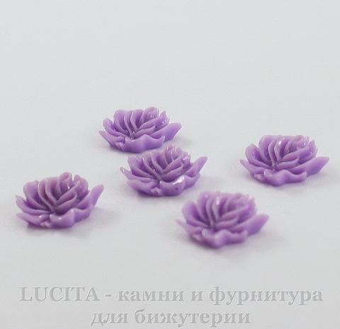 """Кабошон акриловый """"Дикая роза"""", цвет - фиолетовый, 12х10 мм, 5 штук"""