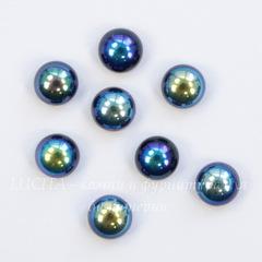 Кабошон круглый Чешское стекло, цвет - бензиновый, 5 мм, 10 штук