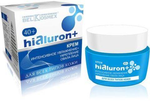 BelKosmex Hialuron+ Крем интенсивное увлажнение + укрепление овала лица 40+ для всех типов кожи 48г