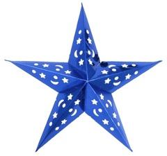 Звезда бумажная голографическая синяя  (60 см)