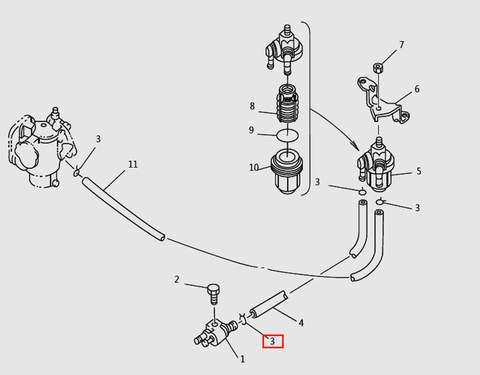 Хомут топливной системы для лодочного мотора T9.8 Sea-PRO (6-3)