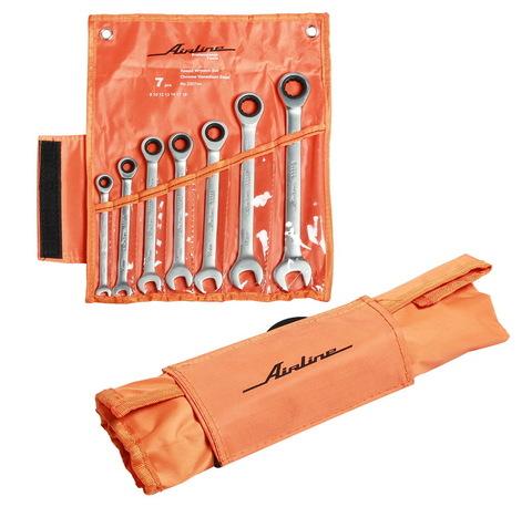 Набор ключей комбинированных трещёточных 7 предметов, сумка