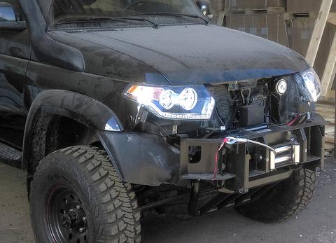Усиленный композитный передний бампер УАЗ Патриот, Пикап, Карго черный АВС-Дизайн