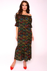 Легкое платье из штапеля. Открытые плечи и волан по низу придаст романтику Вашему образу. Длина: 44-50р-115см.