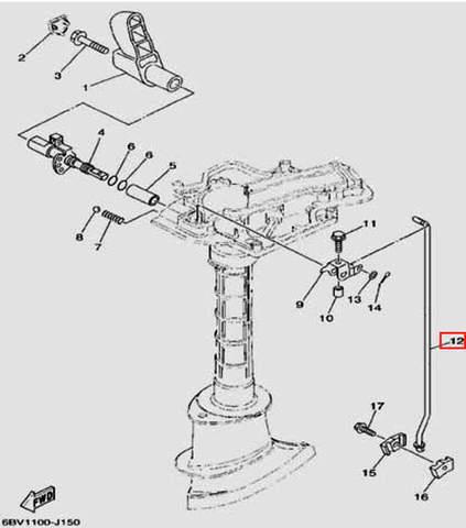 Тяга переключения передач для лодочного мотора F5 Sea-PRO(15-12)