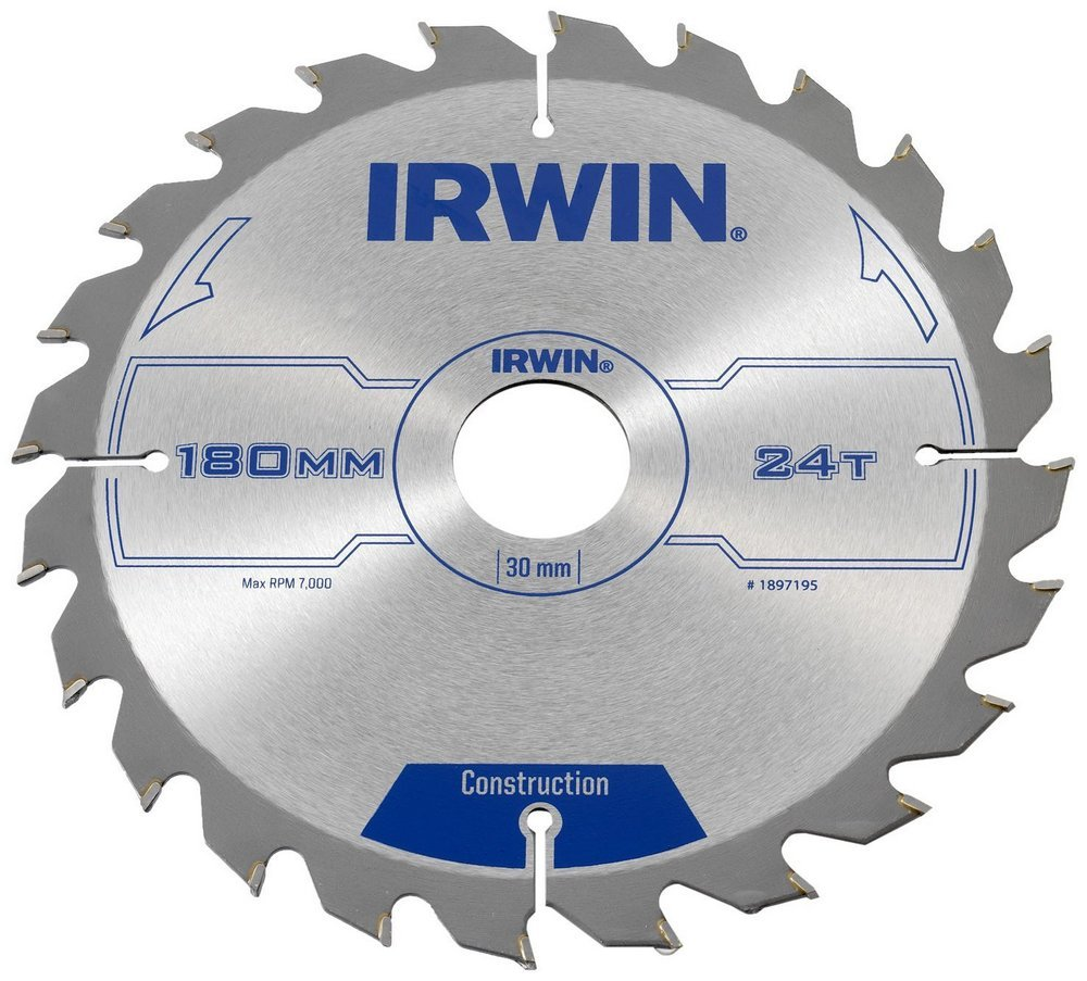 Диск пильный Construction 180x24Tx16 мм по дереву Irwin 1897195