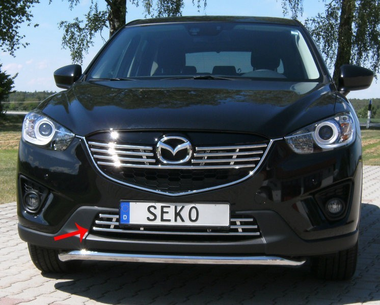 Решетка в передний бампер 16мм, нерж.полиров Seko 810150 для Mazda CX-5 (2015 - 2017) dimming style relay 12v led car drl daytime running lights with fog lamp hole for mazda 3 axela 2014 2015