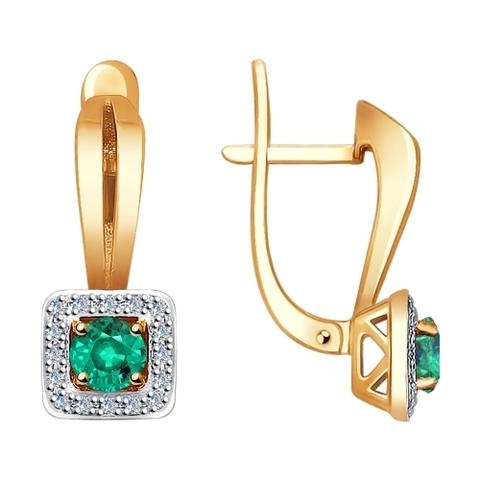 3020435 - Серьги из золота с бриллиантами и изумрудами