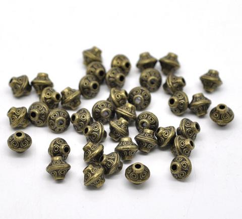 "Бусина металлическая - биконус ""Кружочки"" 7х6 мм (цвет - античная бронза), 10 штук ()"