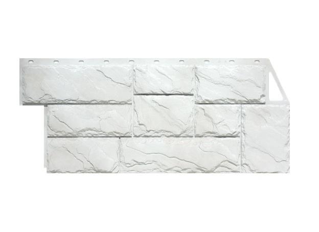 Фасадная панель Камень Крупный - Мелованный белый