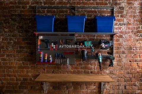 Гаражный стеллаж (1620х800 мм), полки, перфопанели, рейлинги для инструментов