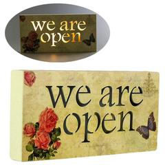 панно «we are open» 24x3x12 см, с подсветкой