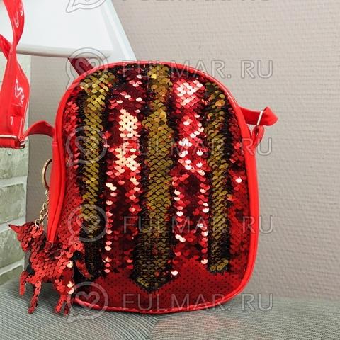 Сумочка красная детская с двусторонними пайетками меняет цвет Красный-Золотистый и брелок Единорог (19х18х5 см)