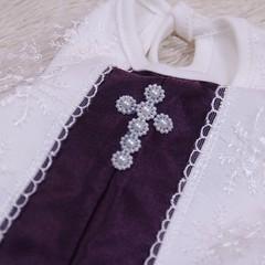 Крестильный комплект Даниила Бантик (фиолетовая)