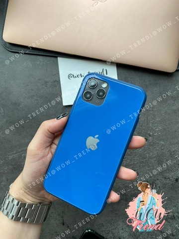 Чехол iPhone 11 Pro Max Glass Pastel color Logo /blue/