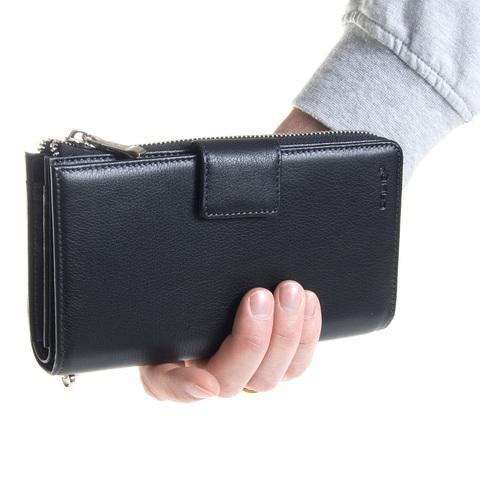 Мужской чёрный клатч портмоне из натуральной кожи GALIB 7M244