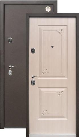 Дверь входная Бульдорс 15, 2 замка, 1,5 мм  металл, (чёрный шёлк+беленый дуб)