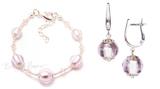Комплект Примавера розовый (серьги на серебре, браслет)