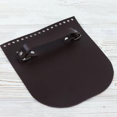 """Клапан для сумочки с ручкой кожаный """"Темно-коричневый"""""""