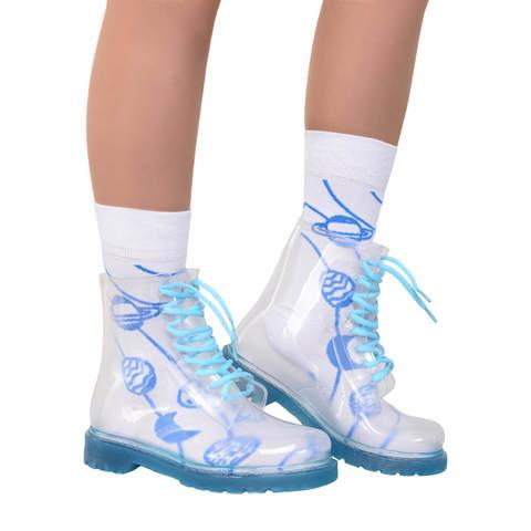 Прозрачные ботинки Invisible-Shoes Синие
