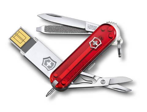 Нож-брелок Victorinox USB 16 Гб, 58 мм, 8 функций, полупрозрачный красный