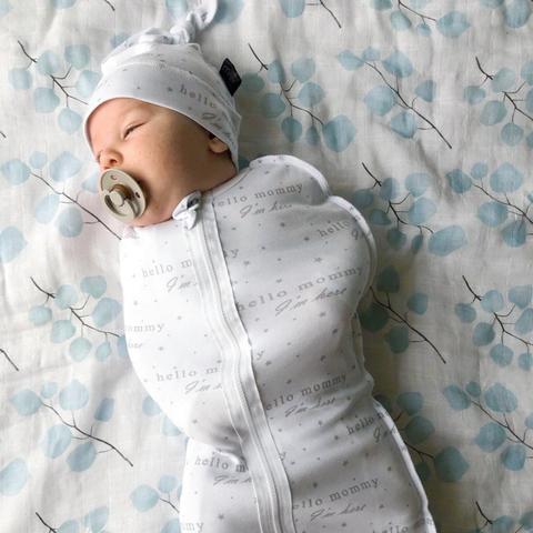 Пеленальный кокон и шапочка Mjölk Basic Hello Mommy