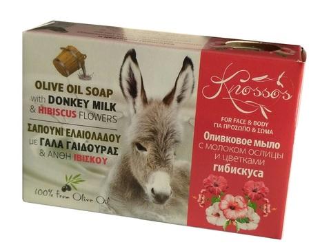 Оливковое мыло с молоком ослиц и цветками гибискуса Knossos 100 гр