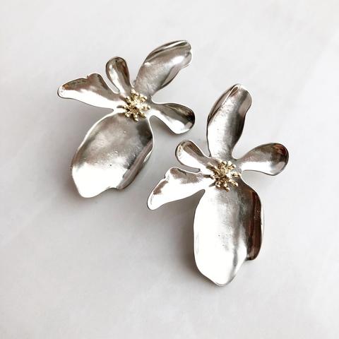 Серьги Гладиолус, серебряный цвет