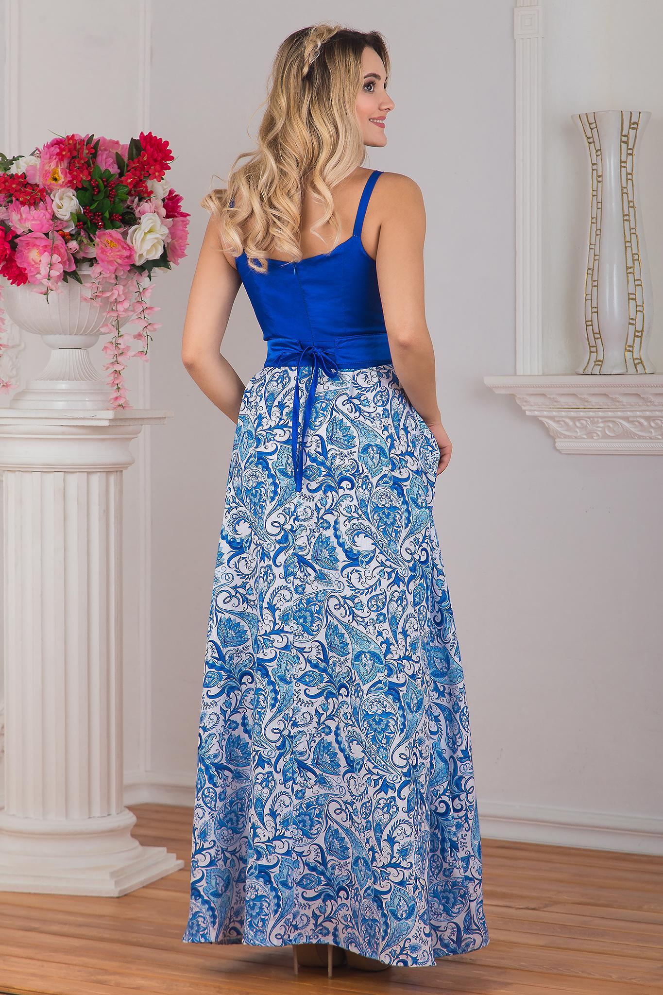 Вид сзади Платье вечернее Гжель