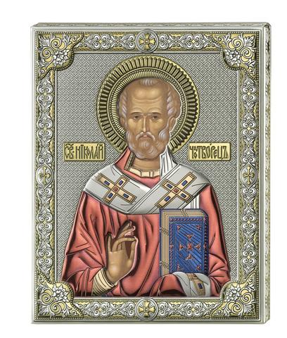 Серебряная икона Святой Николай (цветной лак)