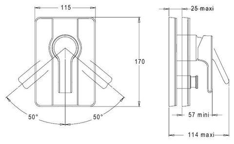 Смеситель встроенный лицевая панель Jacob Delafon Singulier E10879-CP схема