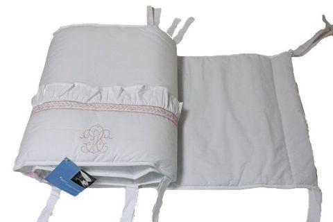 Бампер для детской кроватки 195х45 Bovi Вензель бело-розовый