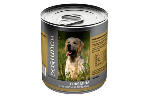 ДОГ ЛАНЧ консервы для собак (говядина с рубцом и печенью в желе) 750г