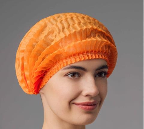 Шапочка-шарлотка одноразовая (Спанбонд (15г\м), оранжевый, 50 шт/упк, штучно)