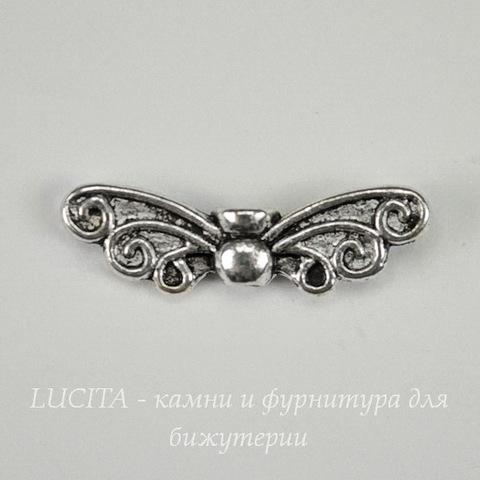 """Бусина металлическая """"Крылья бабочки"""" (цвет - античное серебро ) 22х7 мм"""