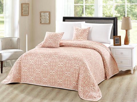 Жаккардовое хлопковое покрывало 230x250 с наволочками розовый