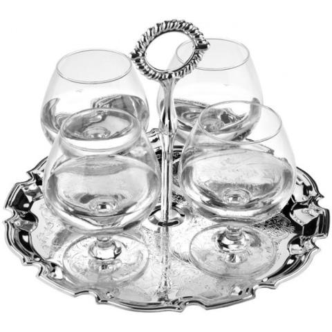 Набор из 4 бокалов для коньяка на подносе