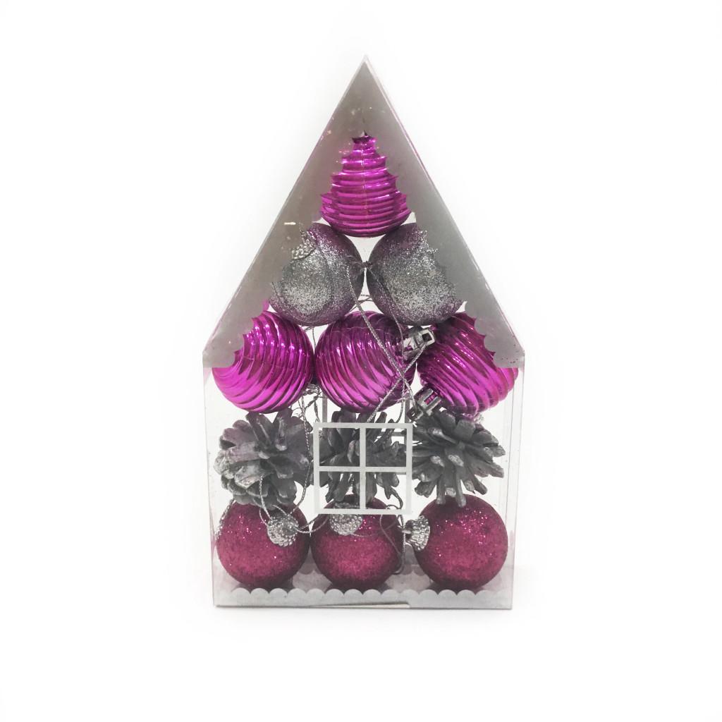 Набор елочных украшений Домик из шишек и шаров 4 см, 12 шт