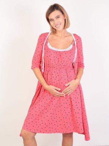 Евромама. Комплект для беременных и кормящих с коротким рукавом и кружевом, коралл