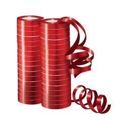 Серпантин фольгированный Металл Красный, 2 шт. (36 колец, 7 мм*4 м)
