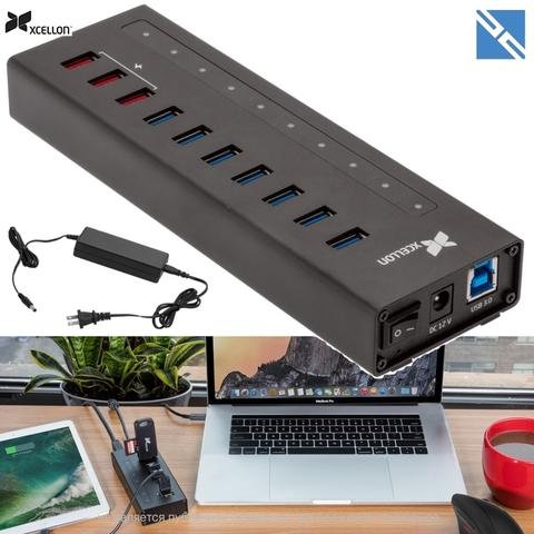 Разветвитель портов Xcellon 10-Port USB 3.0 с питанием алюминий 3 порта зарядки USB 3.1 Gen 1 Type A